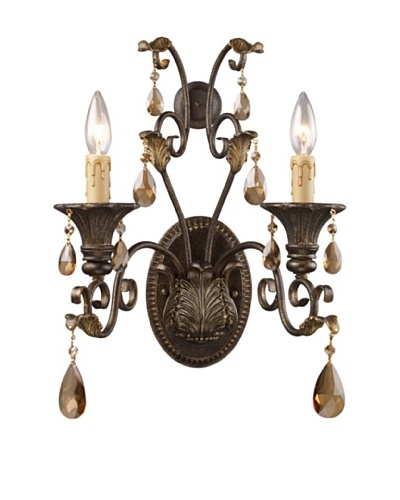 Trump Home Rochelle 2-Light Sconce with Amber Crystal