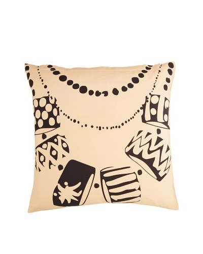 Twinkle Living Necklace Pillow Cover, Beige/Black, 18 x 18