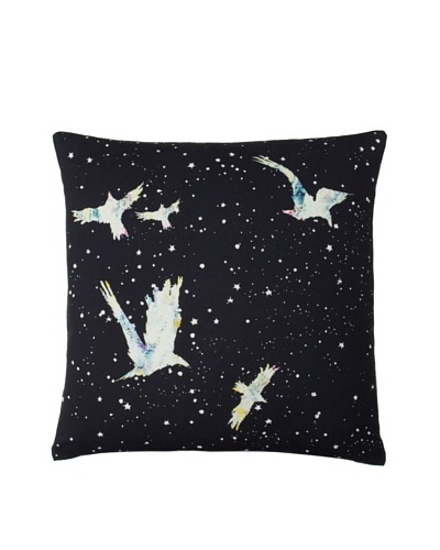 Twinkle Living Forget-Me-Not Pillow Cover, Black/Multi, 18 x 18