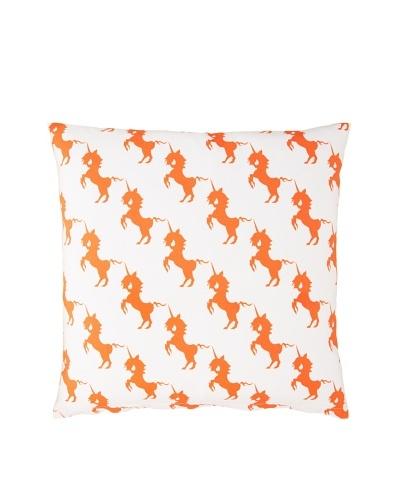 Twinkle Living Unicorns Array Pillow Cover [Orange/White]