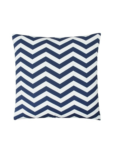 "Twinkle Living Zig-Zag Pillow Cover, Navy/White, 18"" x 18"""