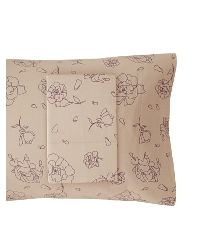 Twinkle Living Pair of Rose Pillowcases, Walnut/Grape, Standard