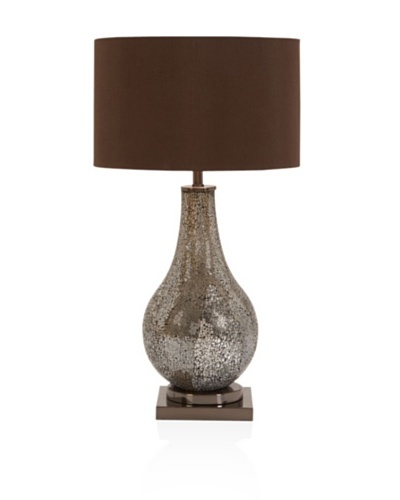 UMA Metal Mosaic Table Lamp, Silver/Brown