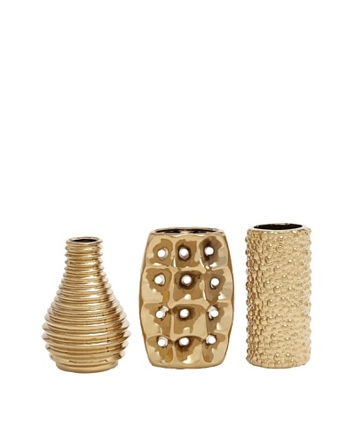 UMA Set of 3 Textured Ceramic Vases