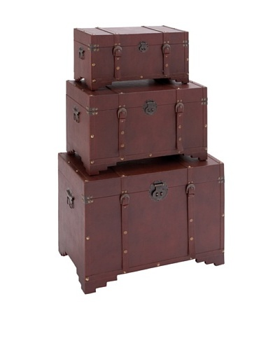 UMA Set of 3 Wood/Leather Trunks, Burgundy