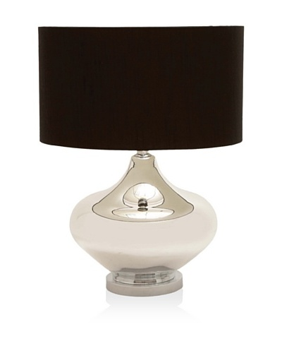 UMA Glass/Metal Table Lamp, Silver/Black, Short