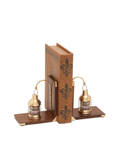 UMA Wooden Brass Lantern BookendsAs You See
