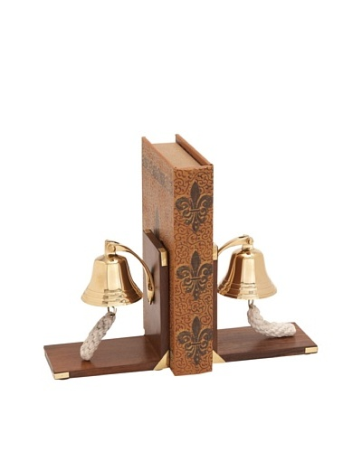 UMA Wooden Brass Bell BookendsAs You See