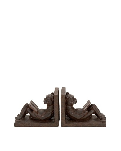 UMA Polystone Lounging Dog Bookends