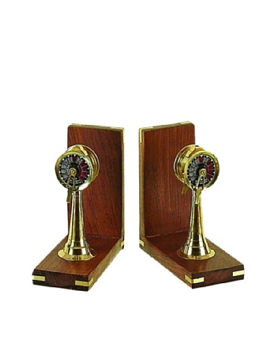UMA Wooden Brass Ship Controller Bookends