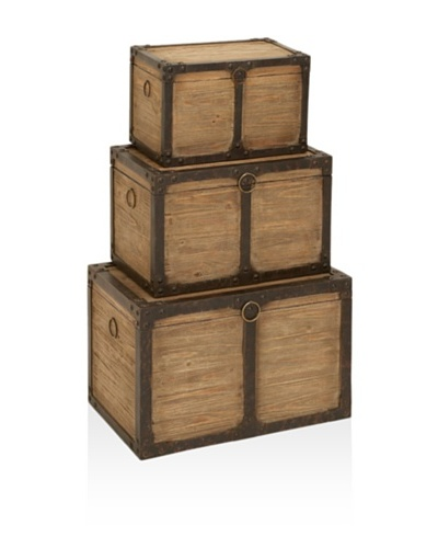 UMA Set of 3 Wood/Metal Trunks, Natural
