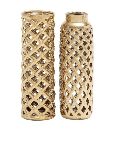 UMA Set of 2 Ceramic Basketweave Vases