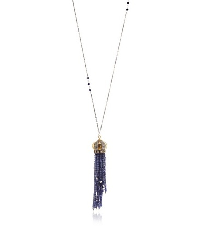 Uptown Down Tassel Necklace, Indigo