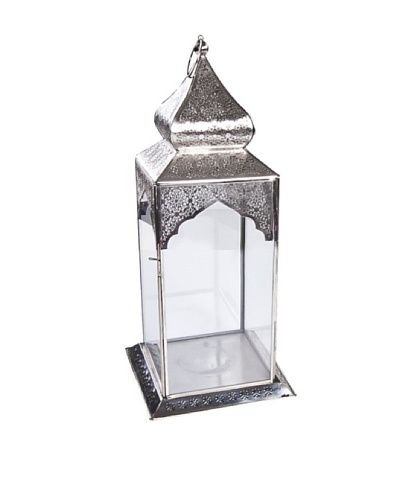 Uptown Down Medium Nickel Lantern, Silver