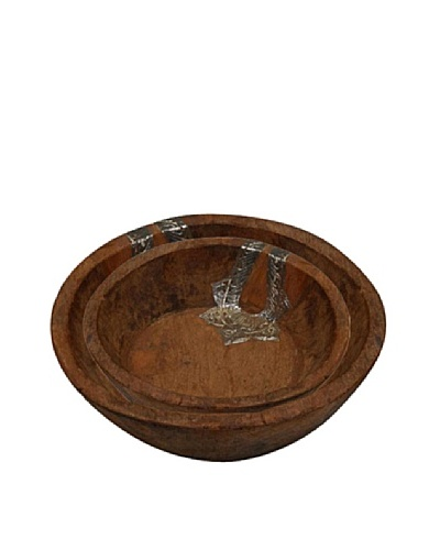 Uptown Down Set of 2 Wood Nesting Bowls, Natural Wood/Silver