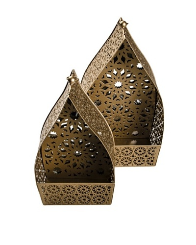 Uptown Down Set of 2 Namaskar Lanterns, Gold
