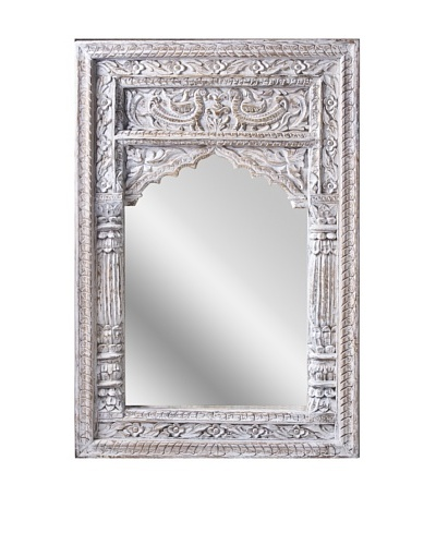 Uptown Down Small Carved Mirror, White
