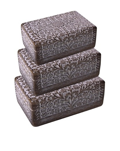 Uptown Down Set of 3 Floral Wood Boxes, Natural Wood/White
