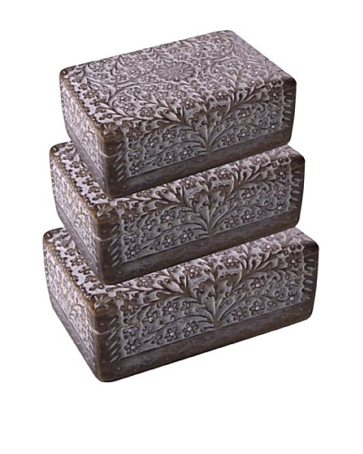 Uptown Down Set of 3 Floral Diamonds Wood Boxes, Natural Wood/White