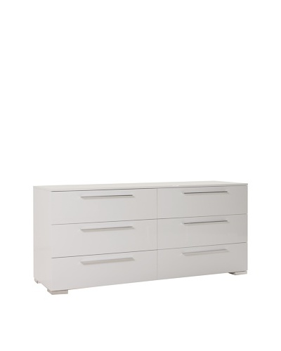 Urban Spaces Chico 2 Double Dresser, High Gloss White Lacquer