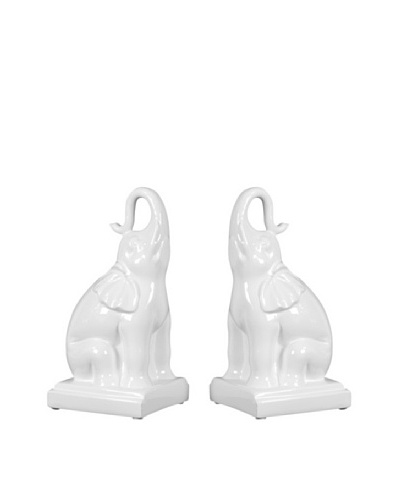 Set of Ceramic Elephant Bookends, White