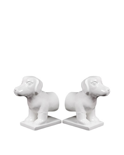 Set of Ceramic Dog Bookends, White