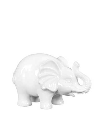 Large Ceramic Elephant, White