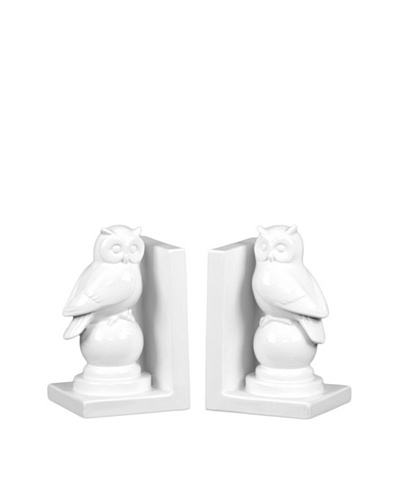Ceramic Owl Bookends, White