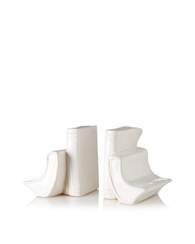 Ceramic Bookends, White