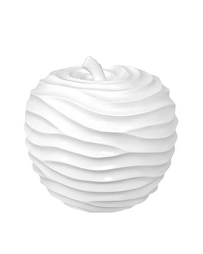 Ceramic Textured Apple, White