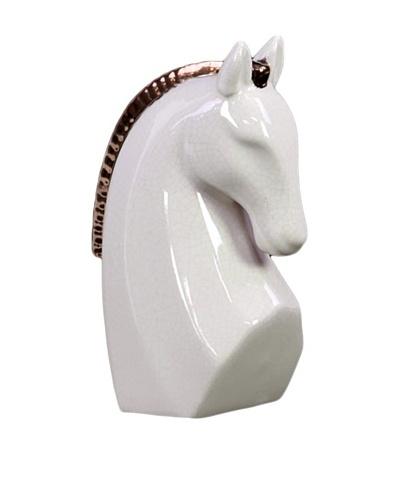 Small Stoneware Horse Head, White