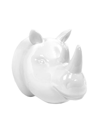 Ceramic Rhinoceros Head Wall Décor, White