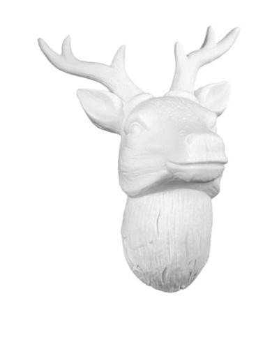 Medium Porcelain Deer Head Wall Decor, White