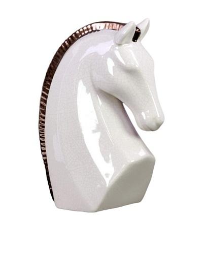 Large Stoneware Horse Head, White