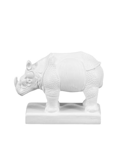 Ceramic Rhino Statue, White