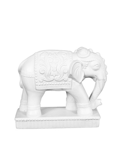 Ceramic Elephant Statue, White