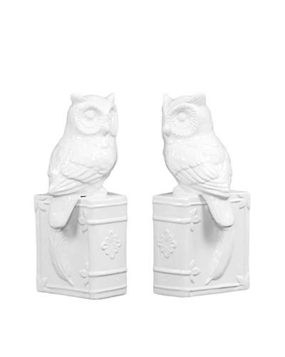 Ceramic Owl Bookends, White