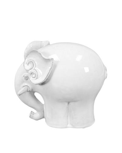 Large Ceramic Elephant, White