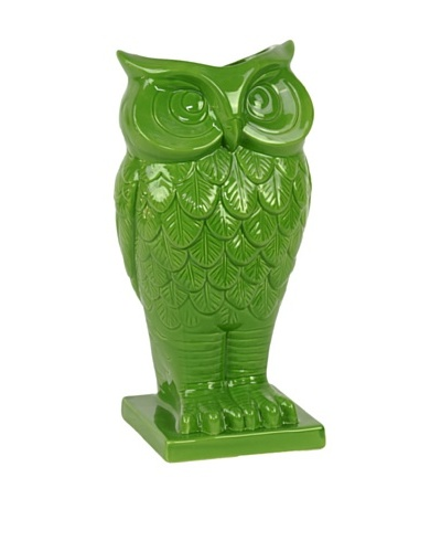 Ceramic Owl Vase, Green