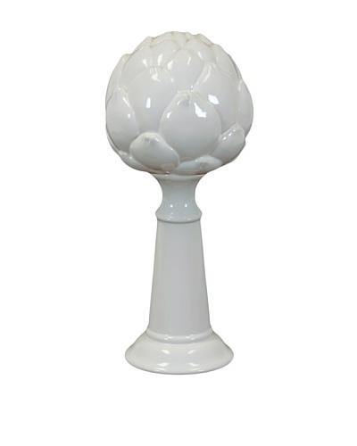 White Ceramic Artichoke on Stand