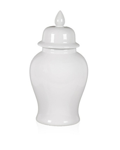 Urban Trends Collection Ceramic Jar with Lid, White