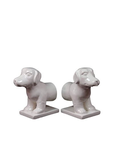 Urban Trends Collection Ceramic Dog Bookends, White