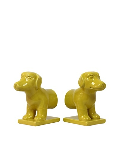 Urban Trends Collection Ceramic Dog Bookends, MustardAs You See