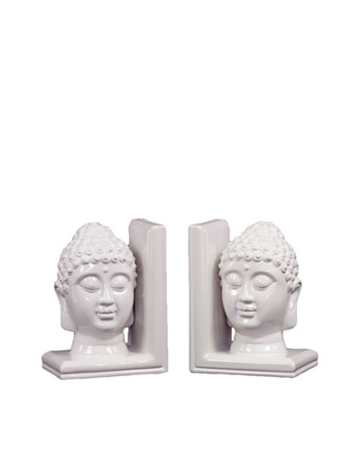 Urban Trends Collection Ceramic Buddha Head Bookends, White