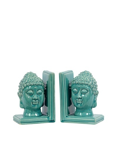 Urban Trends Collection Ceramic Buddha Head Bookends, Turquoise