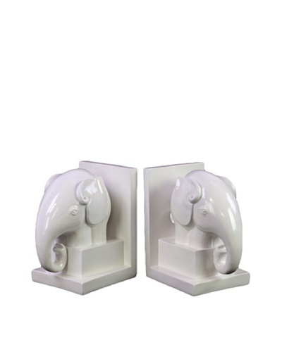 Urban Trends Collection Ceramic Elephant Bookends, White