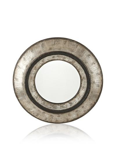 Uttermost Elliot Round Mirror, Silver/Black