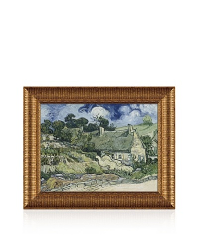 Vincent van Gogh Thatched Cottages In Cordeville Framed Canvas