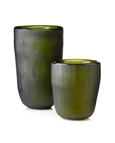 Jamie Young Set of 2 Etched Slump Vases, Olive