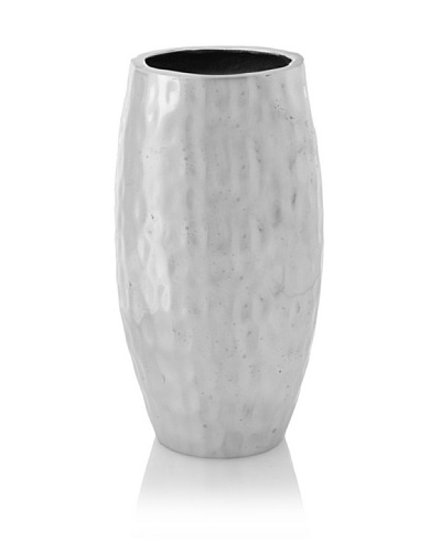 Jim Marvin Collection Hammered Aluminum Round Barrel Vase, Silver, 8.25